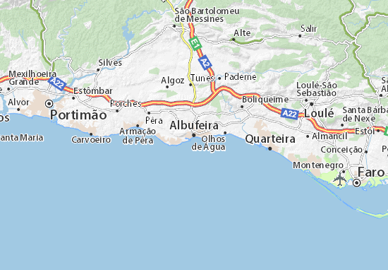 mapa de albufeira Albufeira Map: Detailed maps for the city of Albufeira   ViaMichelin mapa de albufeira