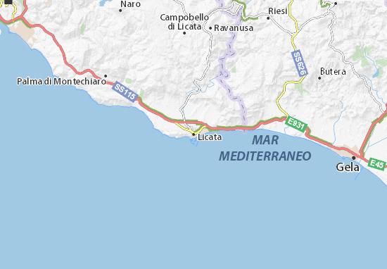 Gela Sicilia Cartina.Mappa Michelin Licata Pinatina Di Licata Viamichelin