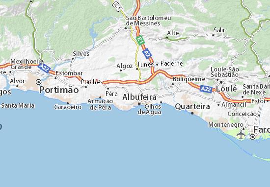 albufeira kaart Kaart van Mouraria  plattegrond van Mouraria  ViaMichelin