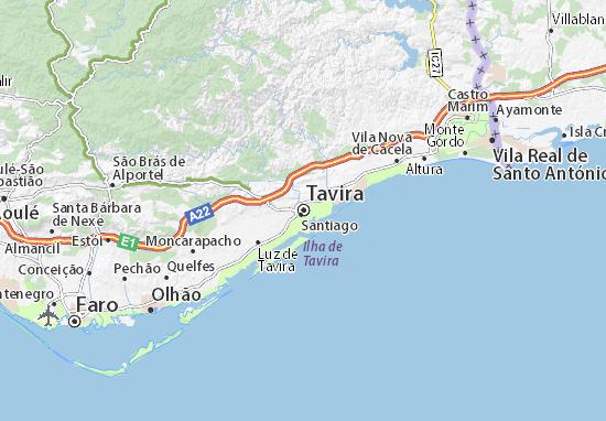 mapa de portugal tavira Mapa Tavira   plano Tavira  ViaMichelin mapa de portugal tavira