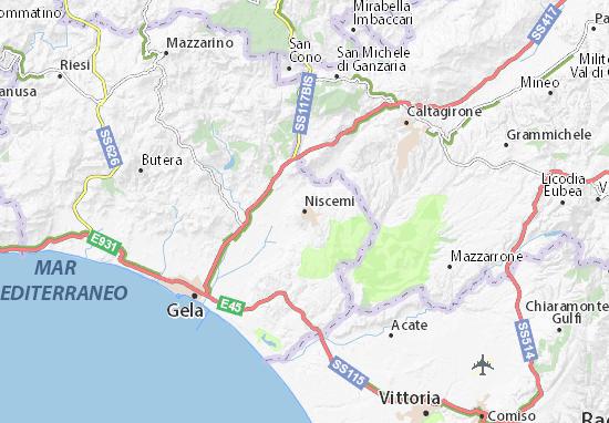 Gela Sicilia Cartina.Mappa Michelin Niscemi Pinatina Di Niscemi Viamichelin
