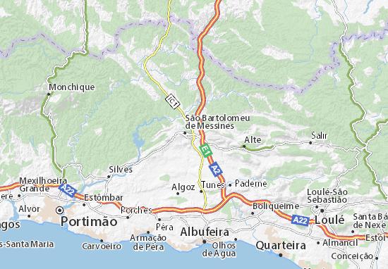 Karte Stadtplan Alcantarilha de São Bartolomeu de Messines