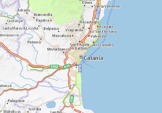 Cartina Sicilia Turistica.Mappa Catania Cartina Catania Viamichelin