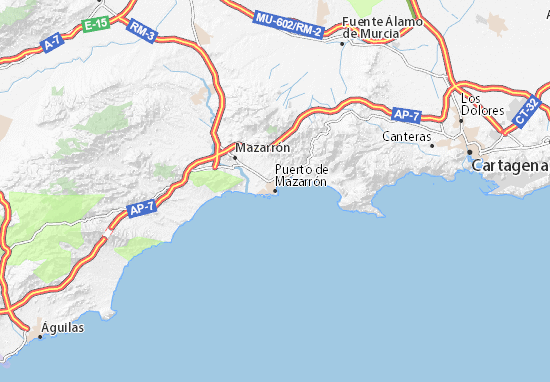 Map Of Spain Showing Murcia.Puerto De Mazarron Map Detailed Maps For The City Of Puerto De