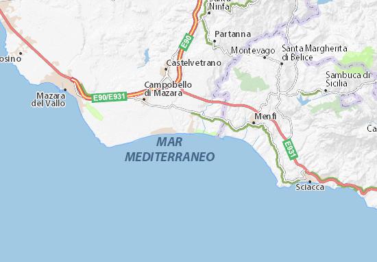 Cartina Sicilia Selinunte.Mappa Michelin Selinunte Pinatina Di Selinunte Viamichelin