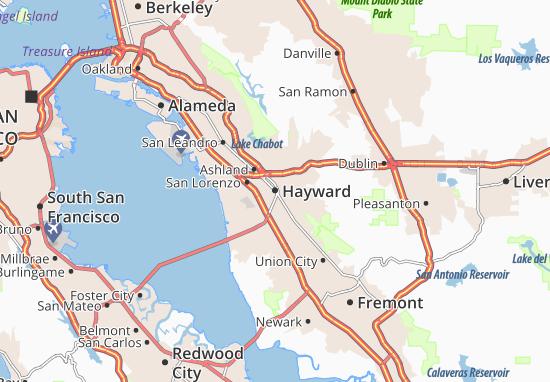 Mapa Hayward