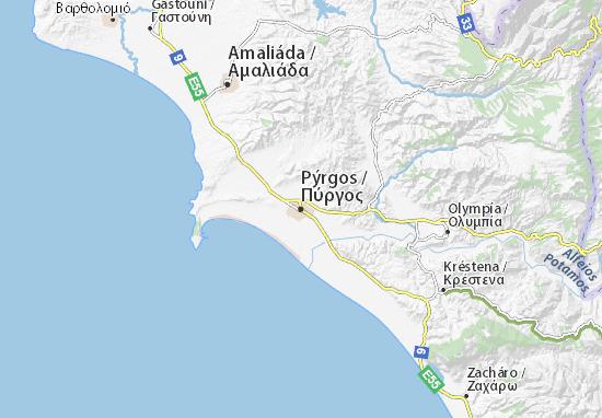 Kaart Plattegrond Pýrgos