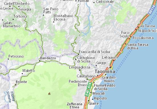 Sicilia Cartina Geografica.Mappa Francavilla Di Sicilia Cartina Francavilla Di