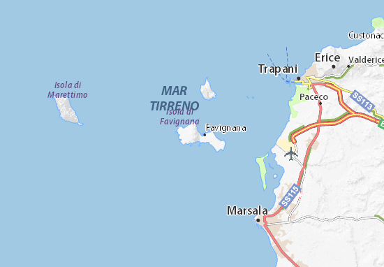 Cartina Della Sicilia Con Le Isole.Mappa Michelin Isole Egadi Pinatina Di Isole Egadi Viamichelin
