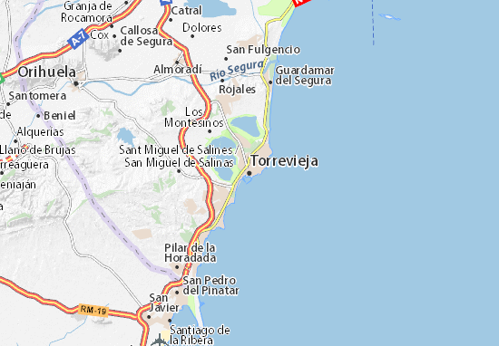 Torrevieja Map Detailed Maps For The City Of Torrevieja Viamichelin