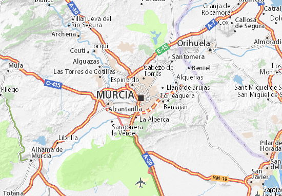Show Murcia On Map Of Spain.Murcia Map Detailed Maps For The City Of Murcia Viamichelin