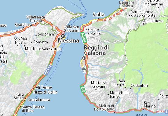 Carte Italie Calabre.Carte Detaillee Reggio De Calabre Plan Reggio De Calabre