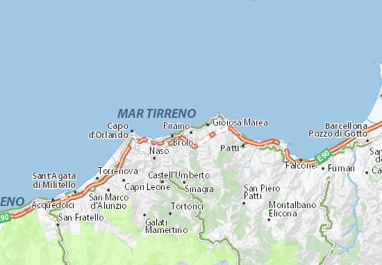 Kaart Plattegrond Piraino