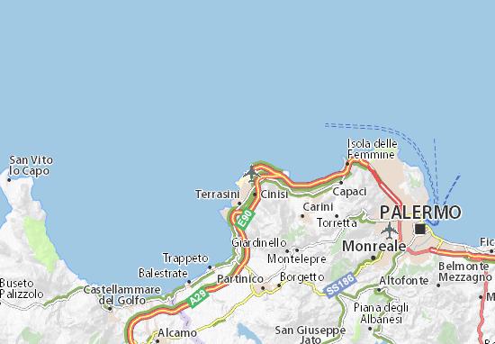 Cartina Aeroporti Sicilia.Mappa Michelin Aeroporto Di Palermo Punta Raisi Pinatina Di Aeroporto Di Palermo Punta Raisi Viamichelin
