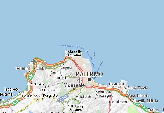 Cartina Sicilia Mondello.Mappa Michelin Mondello Pinatina Di Mondello Viamichelin