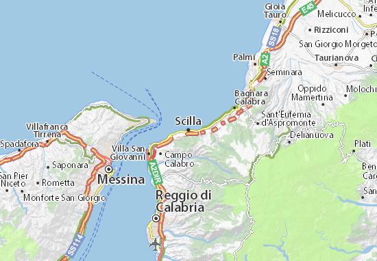 Cartina Calabria Geografica.Mappa Scilla Cartina Scilla Viamichelin