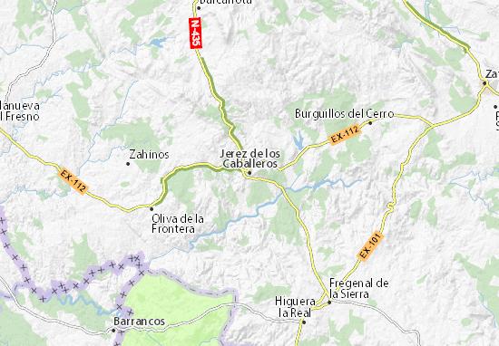 Cartina Jerez De La Frontera.Mappa Michelin Jerez De Los Caballeros Pinatina Di Jerez De Los Caballeros Viamichelin
