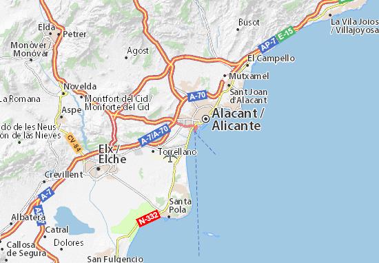 alicante kaart Kaart van Alicante  plattegrond van Alicante  ViaMichelin