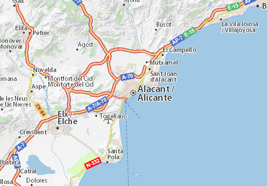 Map Of Alicante Alicante Map: Detailed maps for the city of Alicante   ViaMichelin