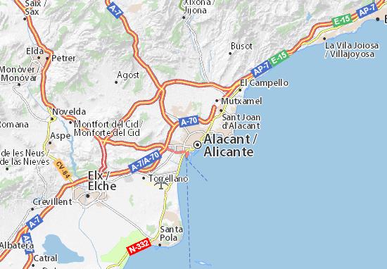 Cartina Alicante Spagna.Mappa Alicante Cartina Alicante Viamichelin