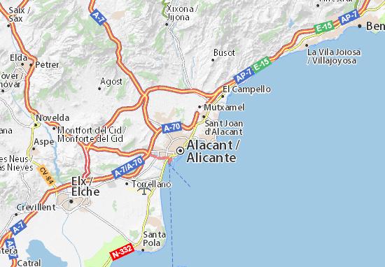 kaart alicante Kaart Alicante   ViaMichelin