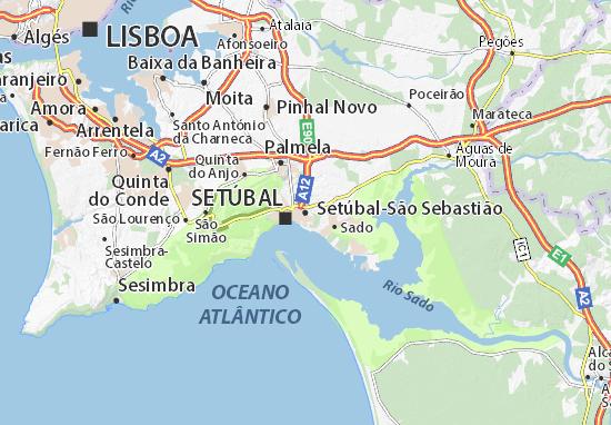 setubal no mapa Mapa Setúbal São Sebastião   plano Setúbal São Sebastião  ViaMichelin setubal no mapa