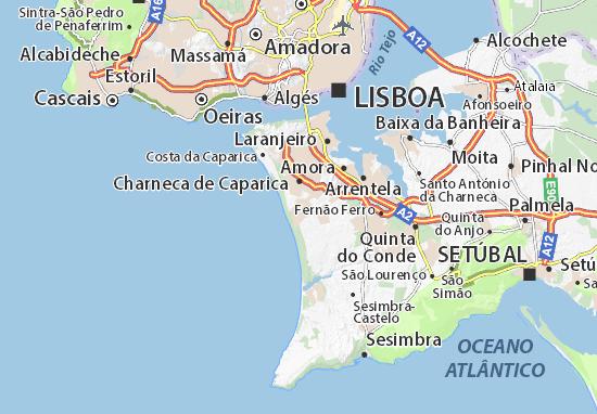 costa da caparica mapa Mapa Aroeira   plano Aroeira  ViaMichelin costa da caparica mapa