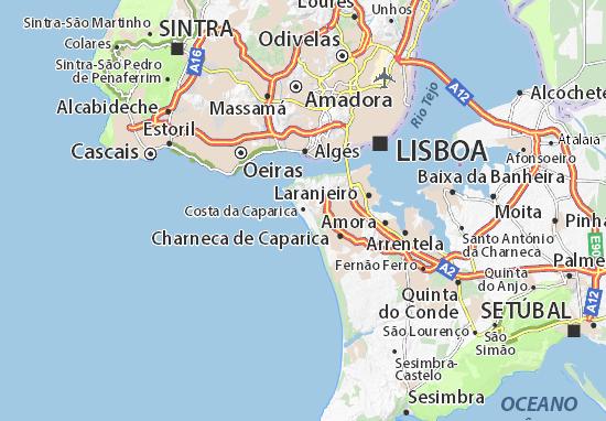 costa da caparica mapa Mapa Costa da Caparica   plano Costa da Caparica  ViaMichelin costa da caparica mapa