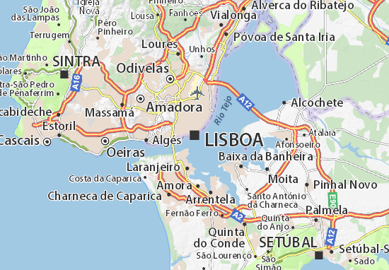 michelin mapa de portugal Map of Lisbon   Michelin Lisbon map   ViaMichelin michelin mapa de portugal