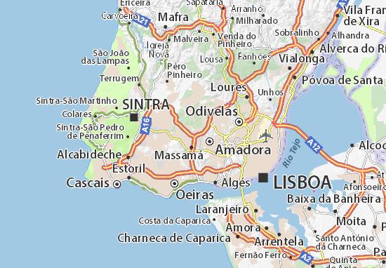 belas lisboa mapa Mapa Belas   plano Belas  ViaMichelin belas lisboa mapa