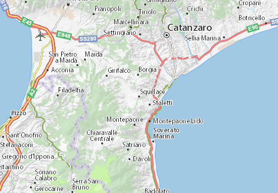 Cartina Calabria Catanzaro.Mappa Squillace Cartina Squillace Viamichelin