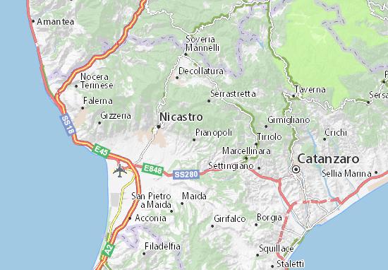 Cartina Calabria Catanzaro.Mappa Feroleto Antico Cartina Feroleto Antico Viamichelin