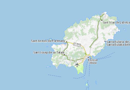Mapa De Ibiza Calas.Mapa Cala De Bou Plano Cala De Bou Viamichelin