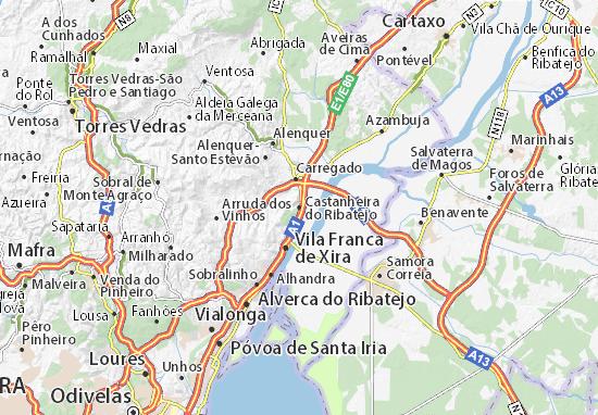 mapa do ribatejo Mapa Castanheira do Ribatejo   plano Castanheira do Ribatejo  mapa do ribatejo