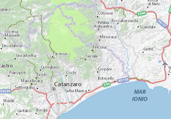 Cartina Calabria Sellia Marina.Mappa Sersale Cartina Sersale Viamichelin