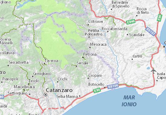 Cartina Calabria Sellia Marina.Mappa Petrona Cartina Petrona Viamichelin