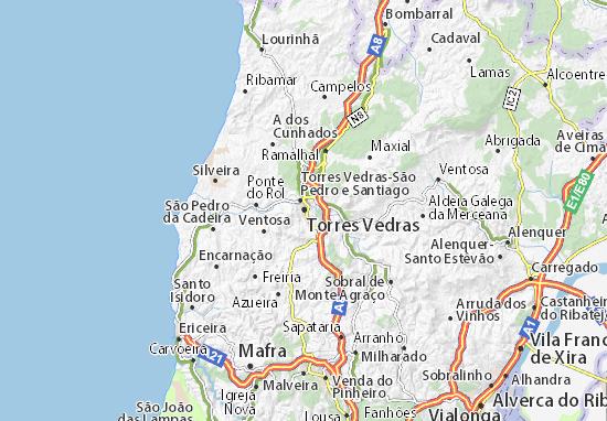 torres vedras mapa Mapa Torres Vedras   plano Torres Vedras  ViaMichelin torres vedras mapa