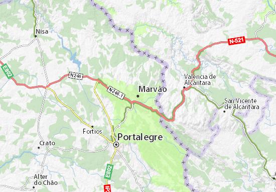 mapa marvao portugal Mapa Marvão   plano Marvão  ViaMichelin mapa marvao portugal