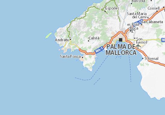 Map Of Santa Ponca Michelin Santa Ponca Map Viamichelin