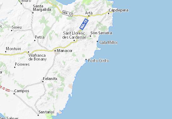Porto Cristo Karte.Karte Stadtplan Porto Cristo Viamichelin
