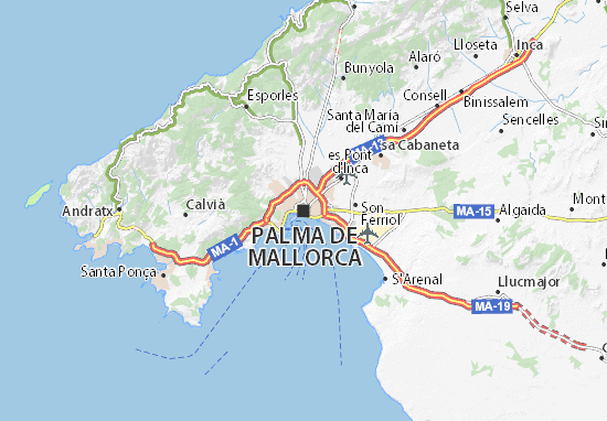 Map Of Palma De Majorca Michelin Palma De Majorca Map Viamichelin