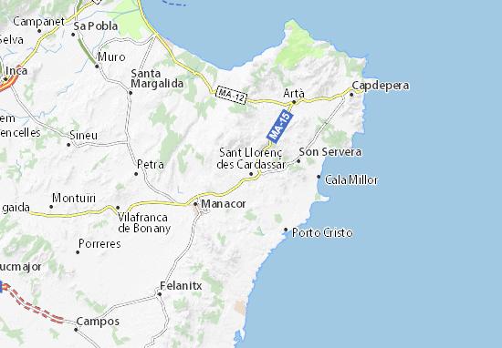 Unwetter Mallorca Karte.Karte Stadtplan Sant Llorenç Des Cardassar Viamichelin
