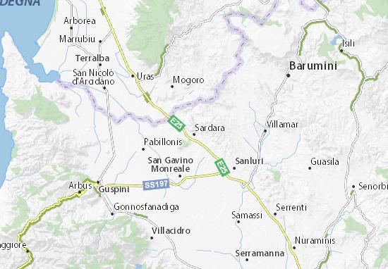 Cartina Sardegna Uras.Mappa Michelin Sardara Pinatina Di Sardara Viamichelin
