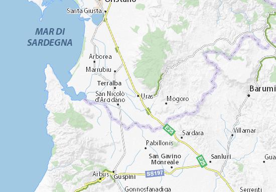 Cartina Sardegna Uras.Mappa Michelin Uras Pinatina Di Uras Viamichelin
