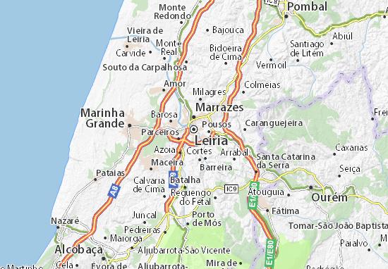 Map of Leiria - Michelin Leiria map - ViaMichelin