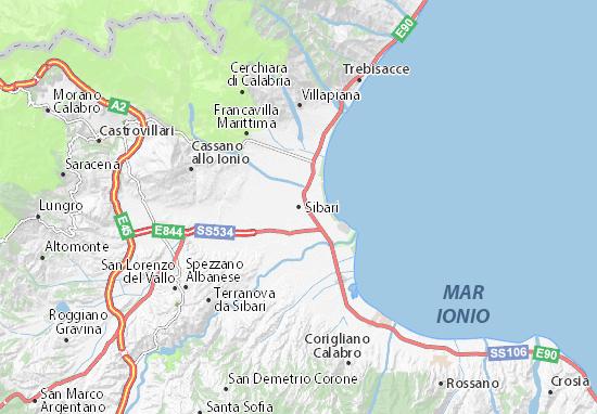 Regione Calabria Cartina Politica.Mappa Michelin Sibari Pinatina Di Sibari Viamichelin