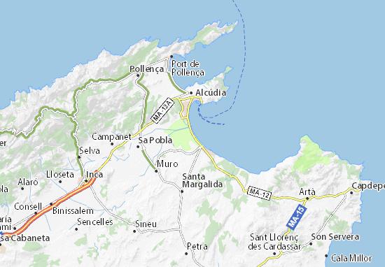 Mallorca Karte Alcudia.Karte Stadtplan Playa De Muro Viamichelin