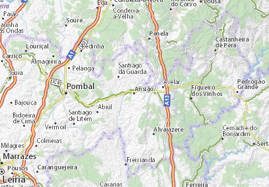 mapa de portugal ansiao Mapa Ansião   plano Ansião  ViaMichelin mapa de portugal ansiao