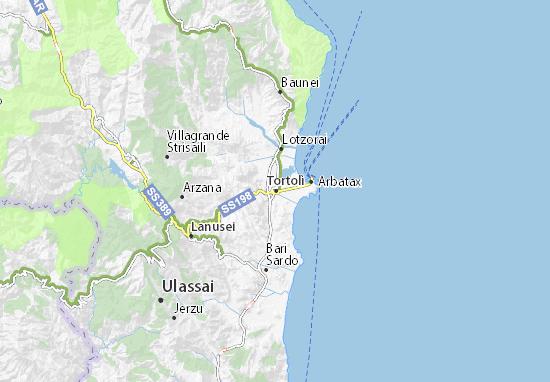 Arbatax Cartina Geografica.Mappa Michelin Tortoli Pinatina Di Tortoli Viamichelin