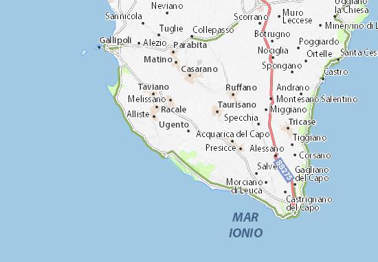 Mappa Puglia Ugento.Mappa Michelin Ugento Pinatina Di Ugento Viamichelin